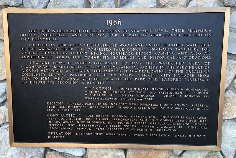 Newport News Park Marker [Center plaque] image. Click for full size.