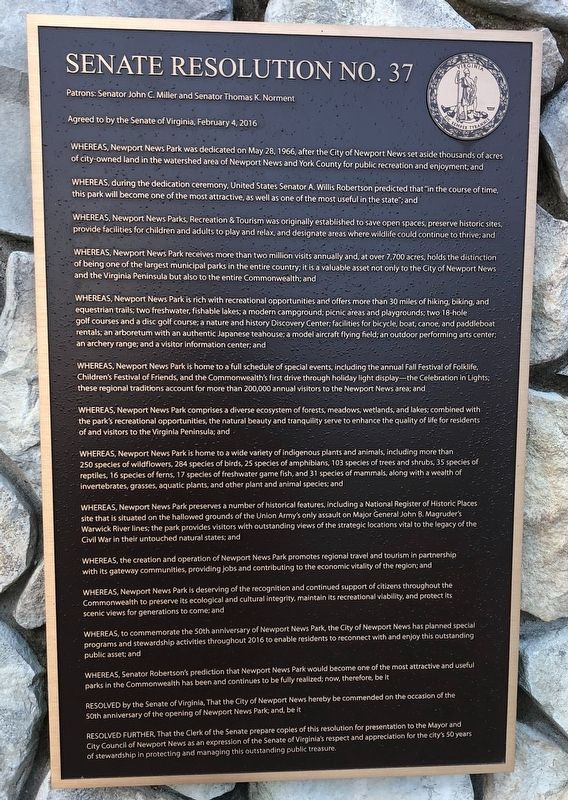 Newport News Park Marker image. Click for full size.