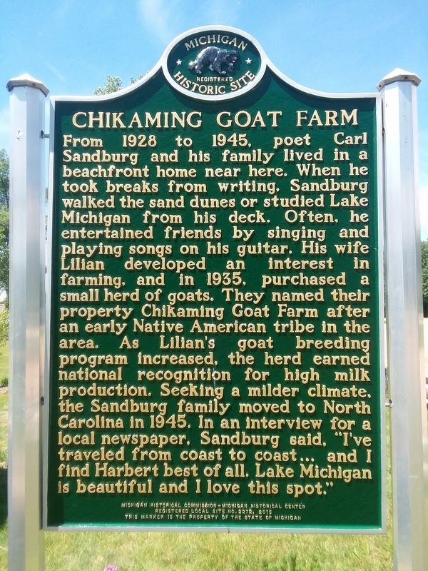 Chikaming Goat Farm Marker image. Click for full size.
