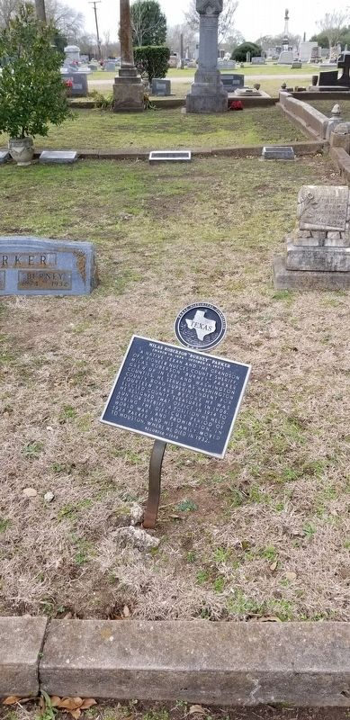 "Mills Roberson ""Burney"" Parker Marker and his grave stone to the left image. Click for full size."