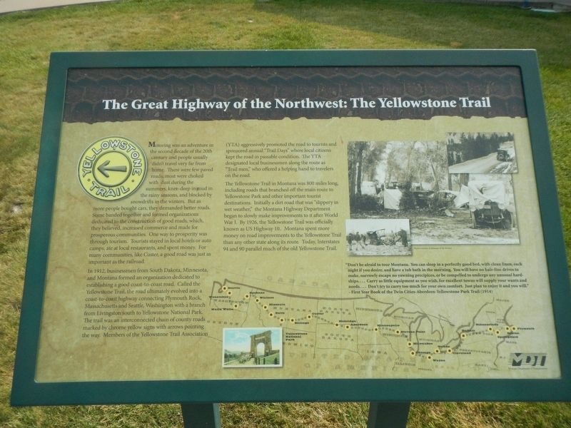The Great Highway of the Northwest: The Yellowstone Trail Marker image. Click for full size.