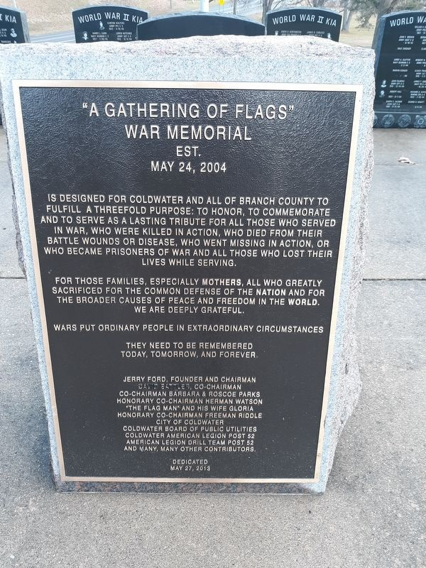 """A Gathering of Flags"" War Memorial image. Click for full size."