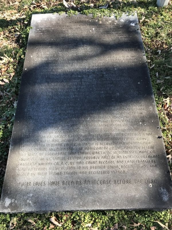 Clifton Forebears are Buried in Old Church Cemetery to Southeast Marker image. Click for full size.