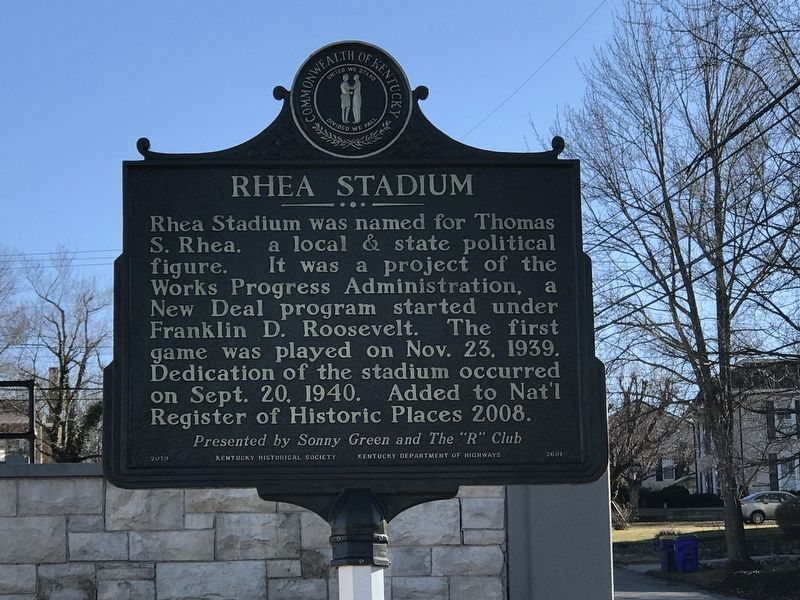 Rhea Stadium Marker image. Click for full size.
