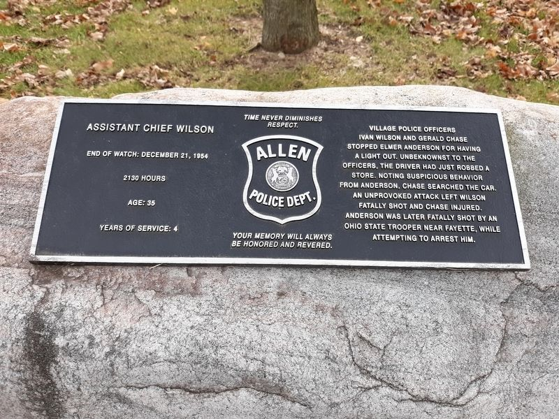Assistant Chief Wilson Marker image. Click for full size.