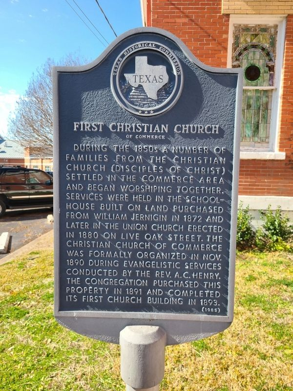 First Christian Church of Commerce Marker image. Click for full size.