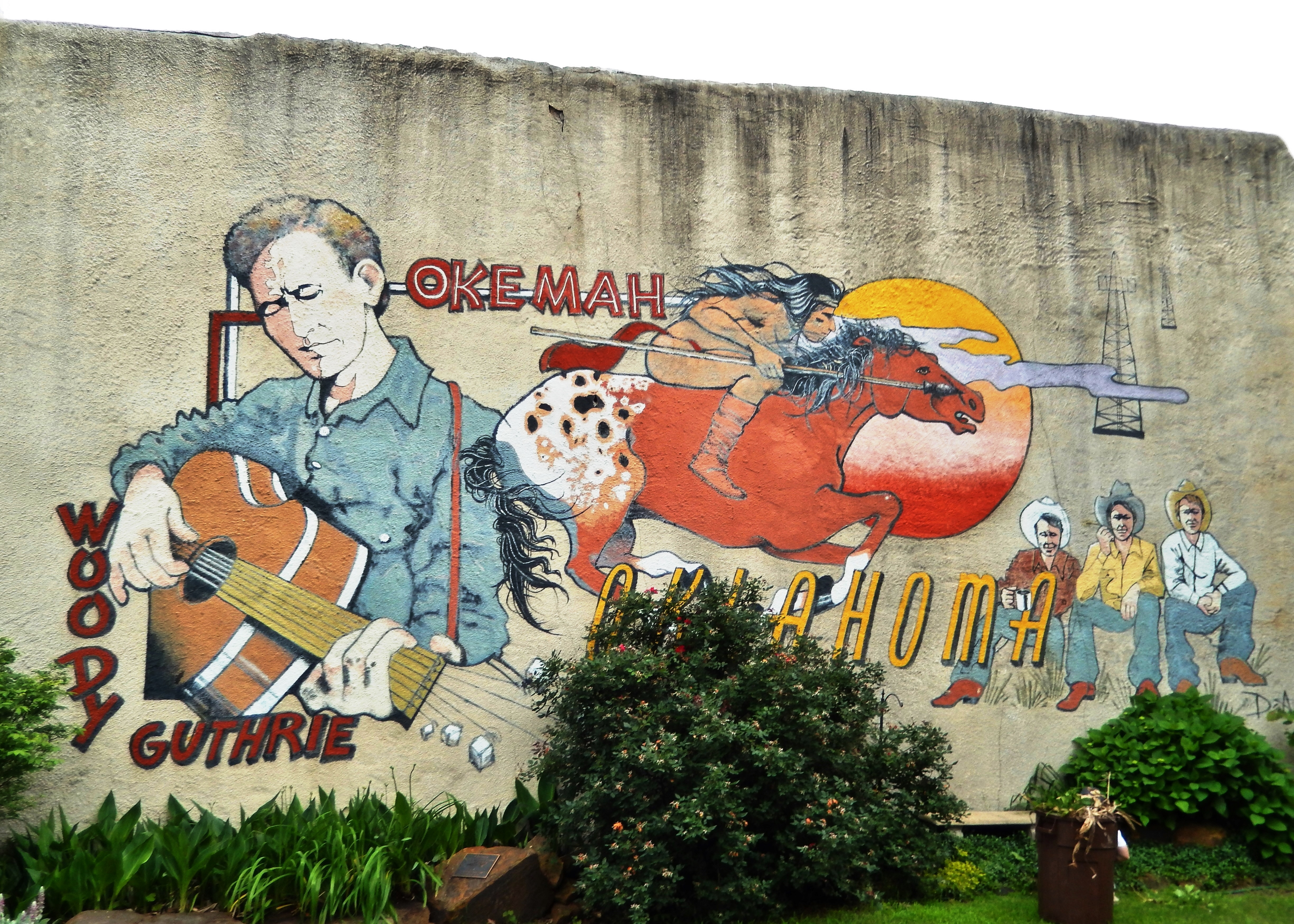 Woody Guthrie Mural (<i>located near marker</i>)