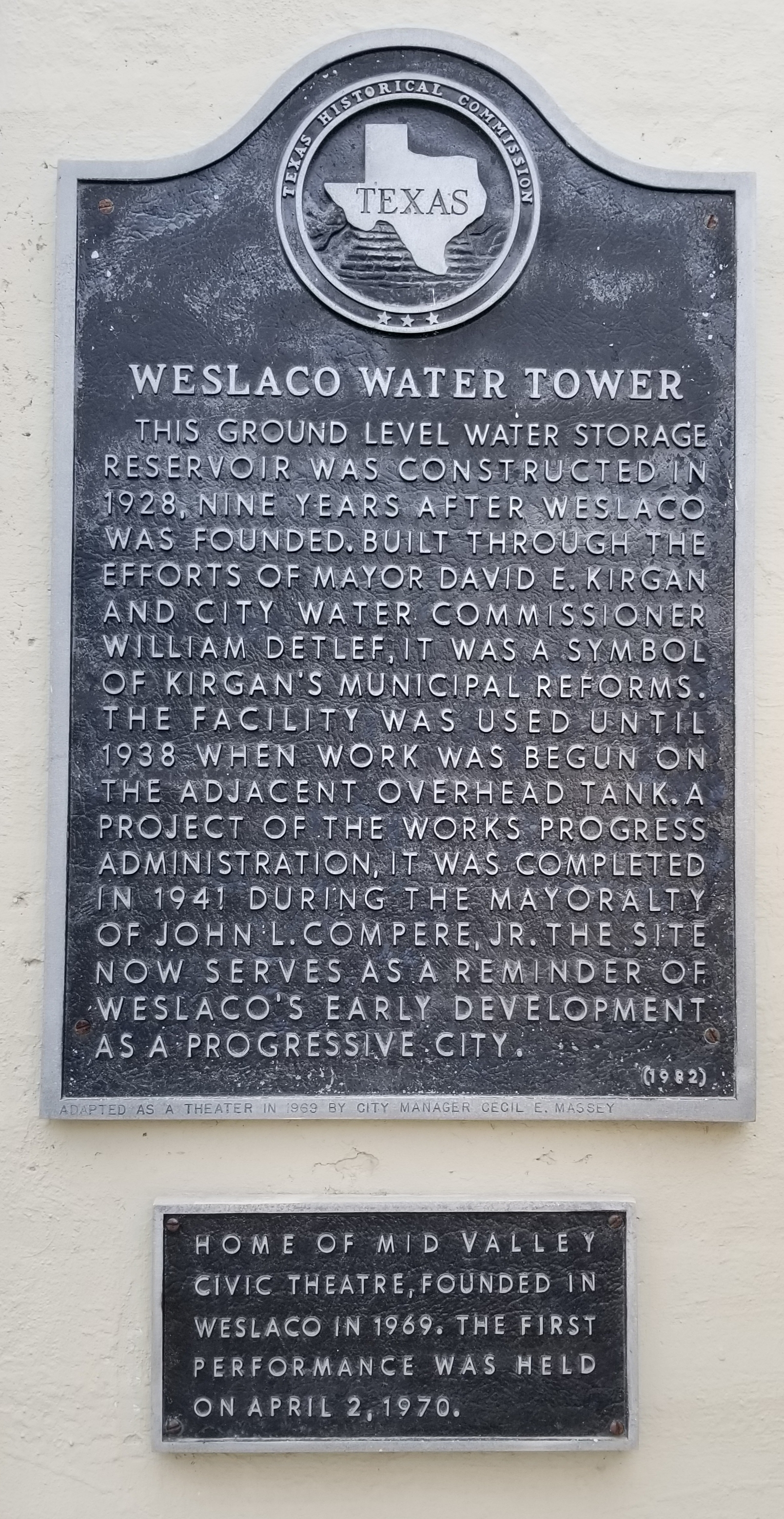 Weslaco Water Tower Marker