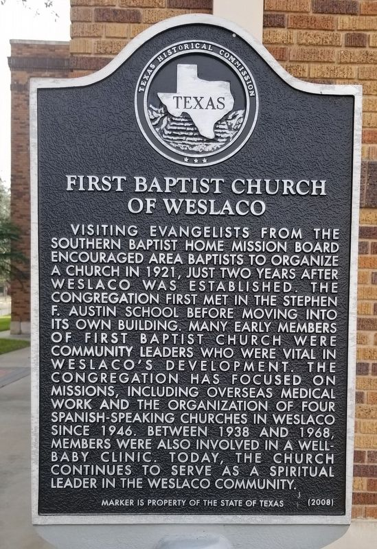 First Baptist Church of Weslaco Marker image. Click for full size.