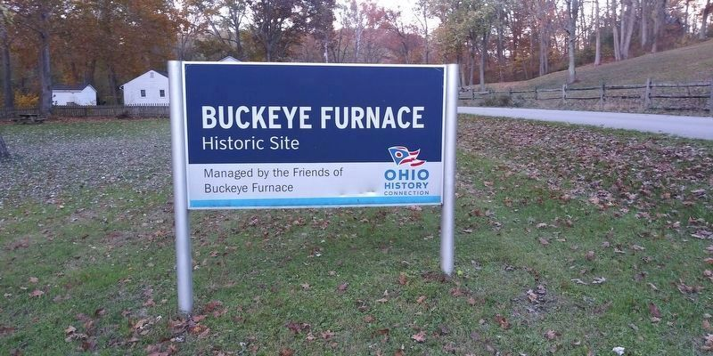 Buckeye Furnace Historic Site entrance sign image. Click for full size.