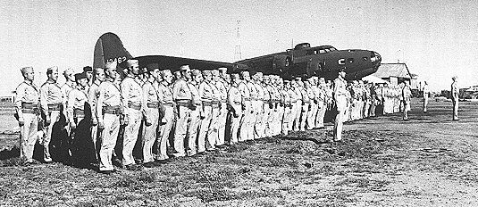 The 19th Bomb Group on parade at Longreach. Australia image. Click for full size.