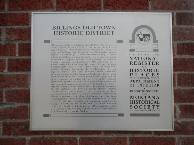 Billings Old Town Historic District Marker image. Click for full size.