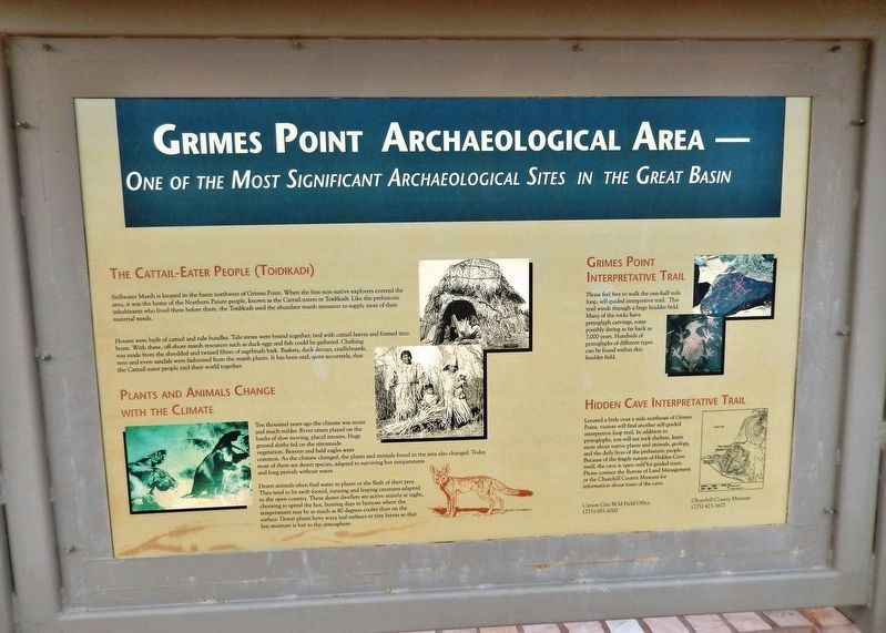 Grimes Point Archaeological Area Marker (<i>side 1</i>) image. Click for full size.