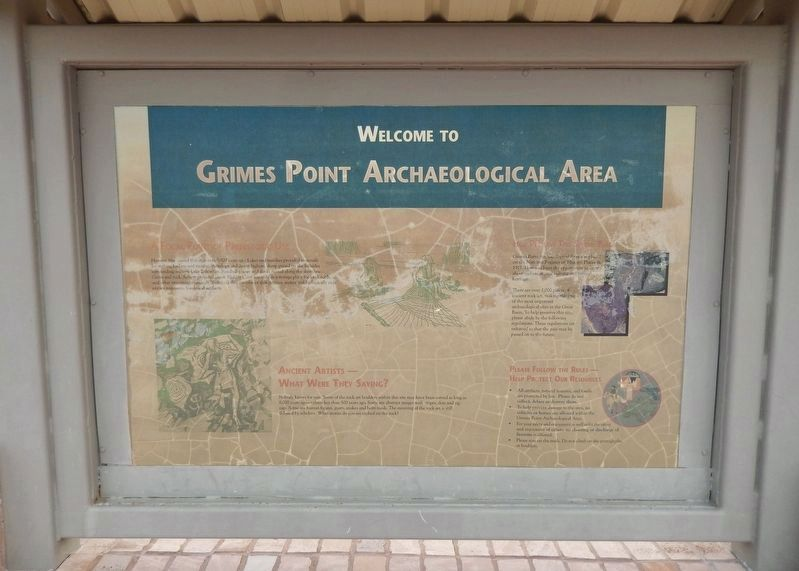 Grimes Point Archaeological Area Marker (<i>side 2</i>) image. Click for full size.