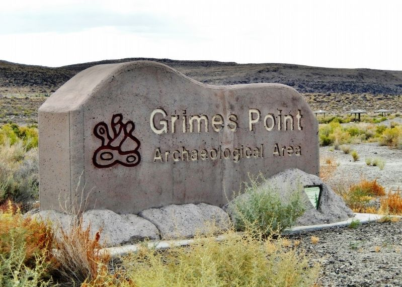 Grimes Point Archaeological Area sign image. Click for full size.