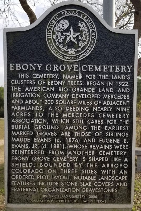 Ebony Grove Cemetery Marker image. Click for full size.