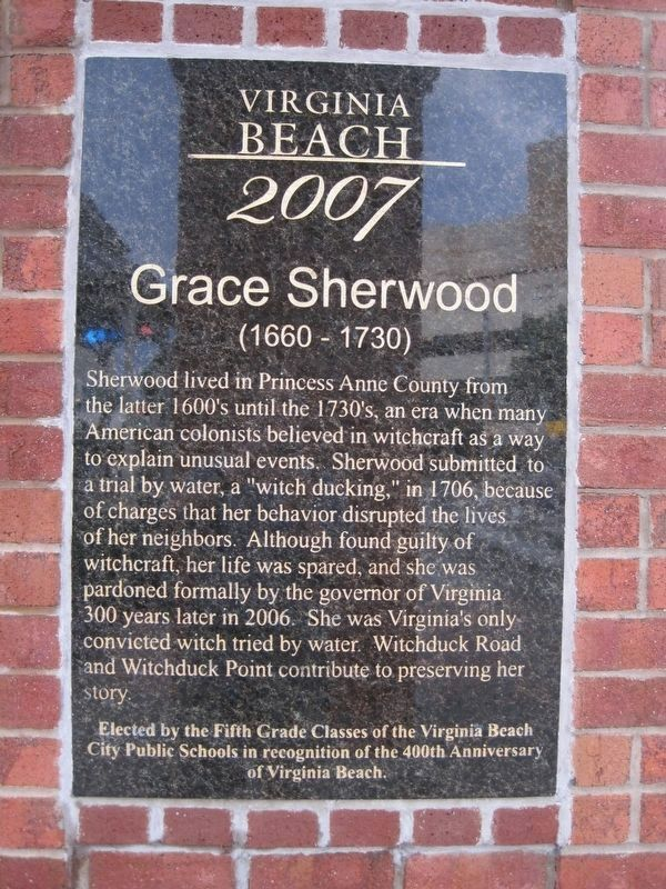 Grace Sherwood Marker image. Click for full size.