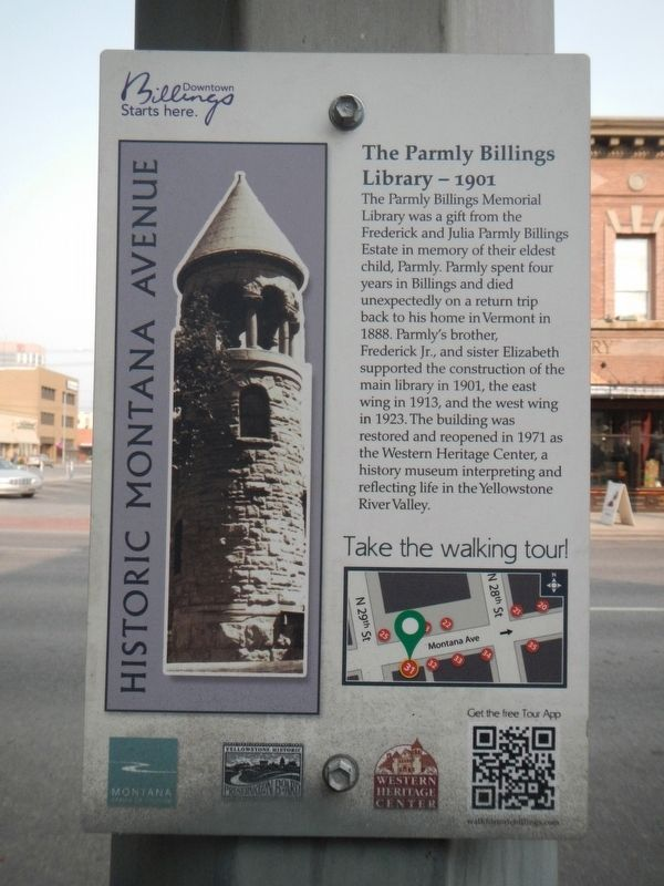 The Parmly Billings Library - 1901 Marker image. Click for full size.