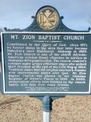 Mt.Zion Baptist Church Marker image. Click for full size.