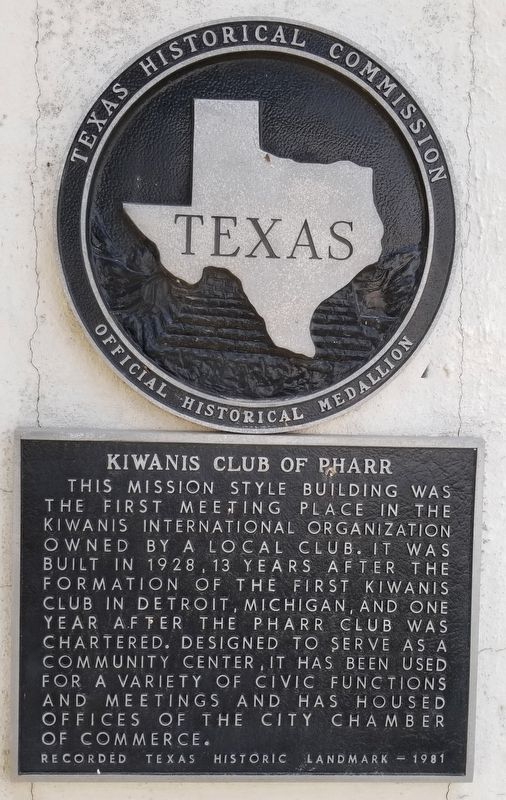 Kiwanis Club of Pharr Marker image. Click for full size.