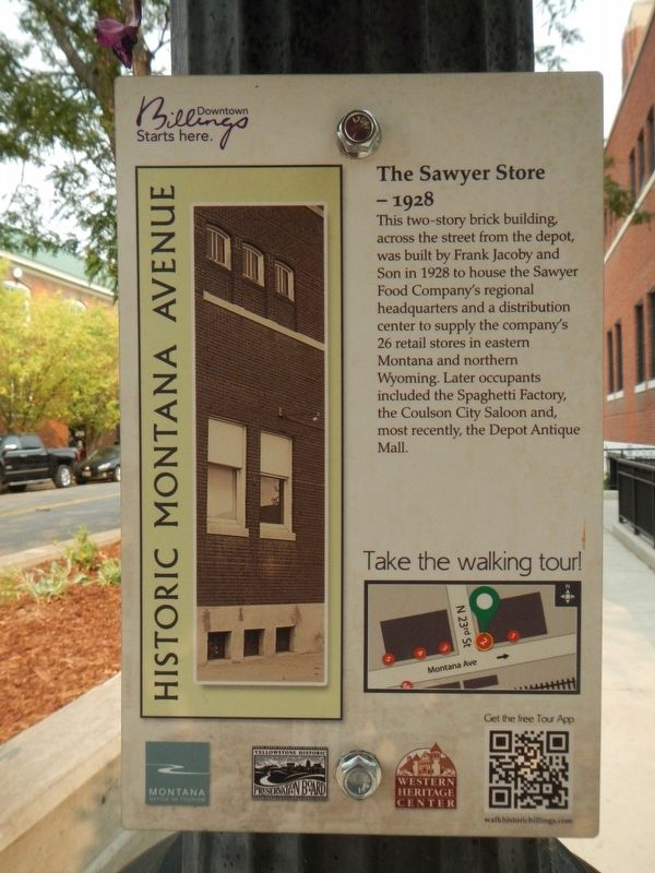 The Sawyer Stores - 1928 Marker image. Click for full size.