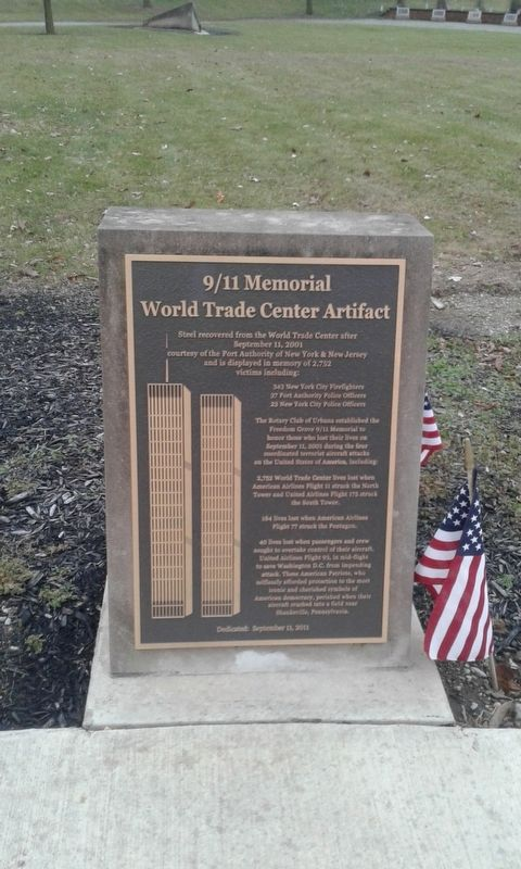 9/11 Memorial World Trade Center Artifact Marker image. Click for full size.