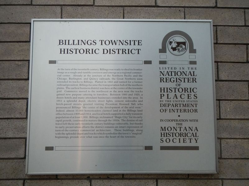 Billings Townsite Historic District Marker image. Click for full size.