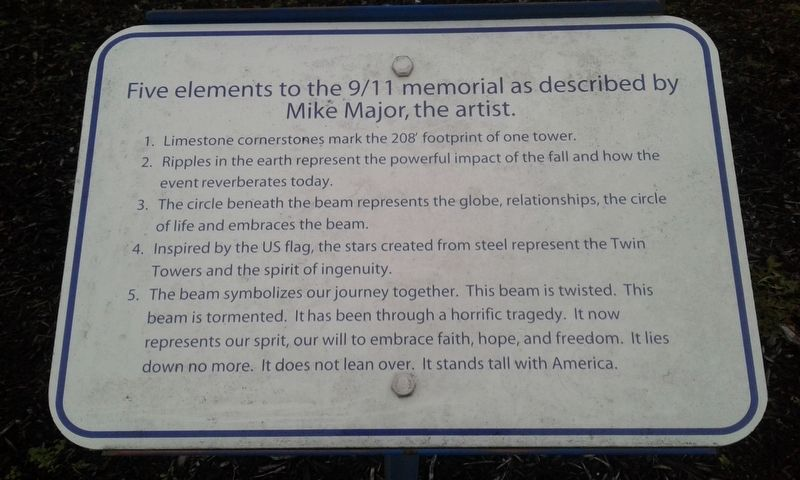 Five elements to the 9/11 memorial as described by Mike Major, the artist Marker image. Click for full size.