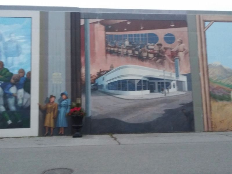 The Greyhound Bus Station, 1941 mural image. Click for full size.