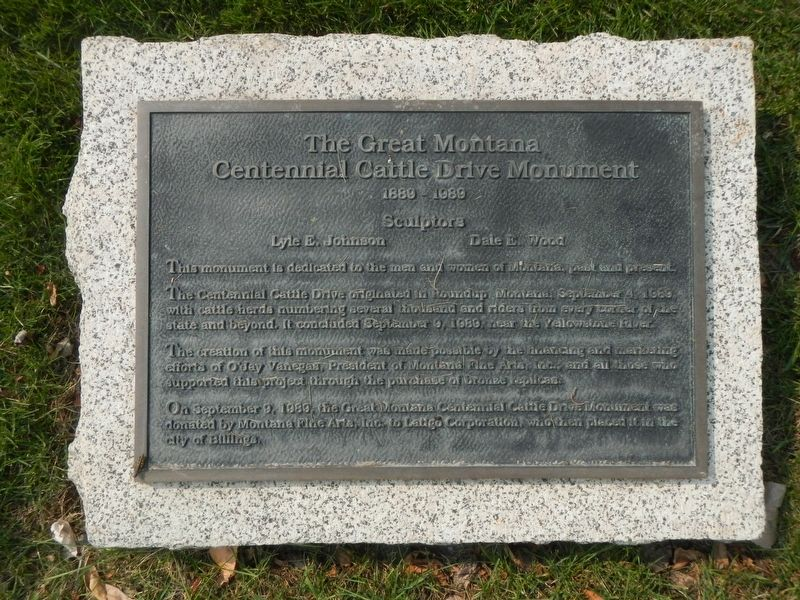 The Great Montana Centennial Cattle Drive Monument image. Click for full size.