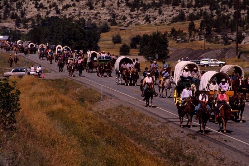 The Great Montana Centennial Cattle Drive wagon train rolls through Klein, image. Click for full size.