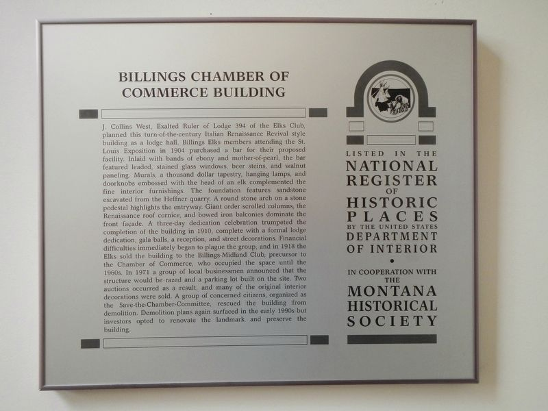 Billings Chamber of Commerce Building Marker image. Click for full size.