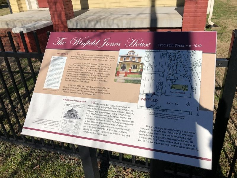 The Winfield-Jones House Marker image. Click for full size.