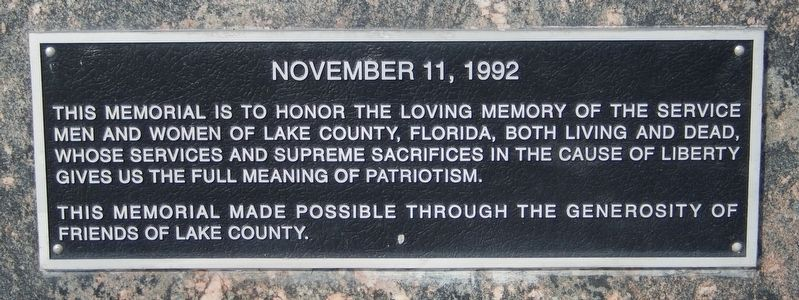 Lake County Service Memorial image. Click for full size.