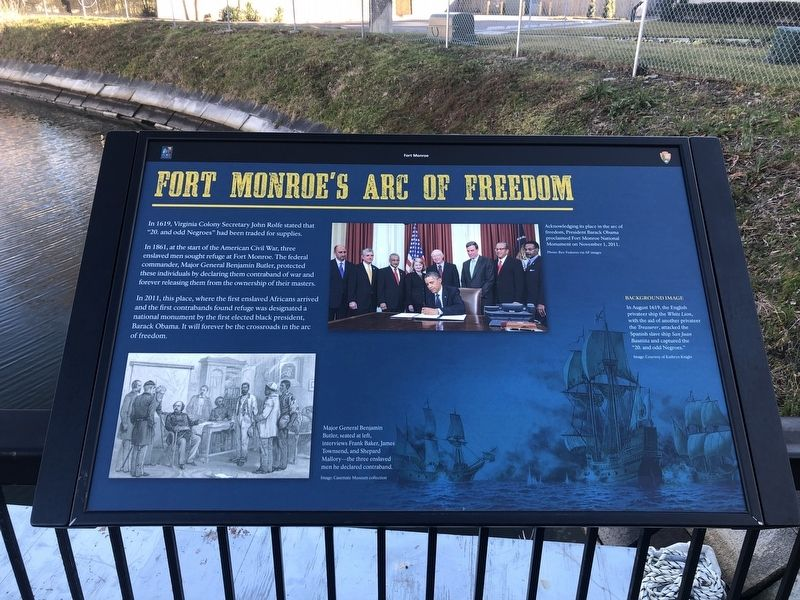 Fort Monroe's Arc Of Freedom Marker image. Click for full size.