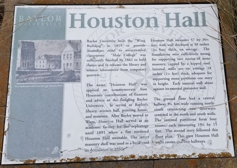 Houston Hall Marker image. Click for full size.