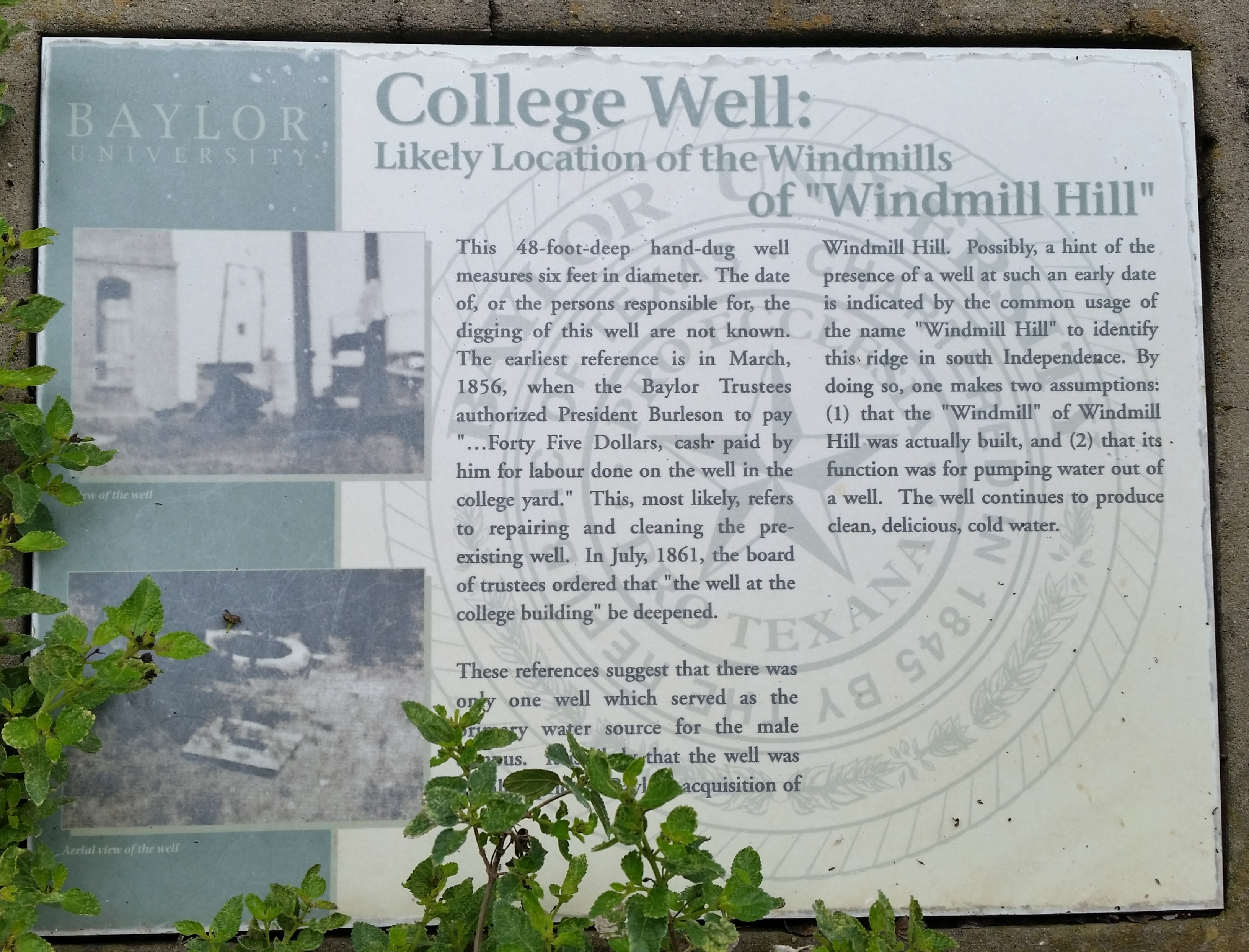 College Well: of Windmill Hill Marker