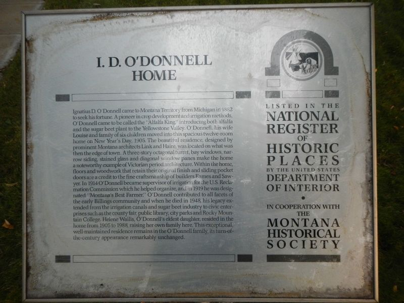 I.D. O'Donnell Home Marker image. Click for full size.