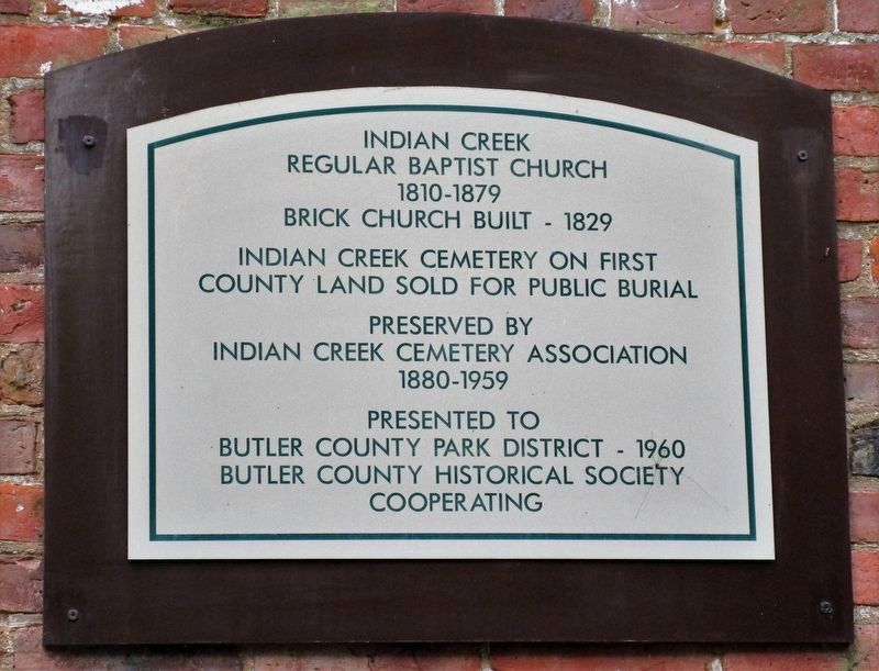 Indian Creek Regular Baptist Church Marker image. Click for full size.