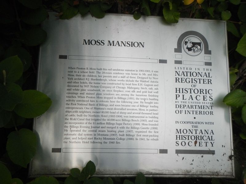 Moss Mansion Marker image. Click for full size.