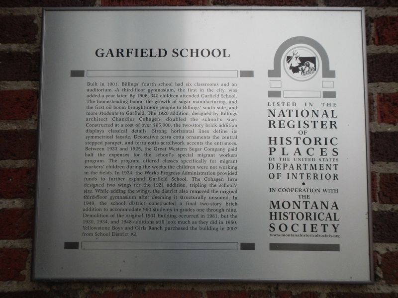 Garfield School Marker image. Click for full size.