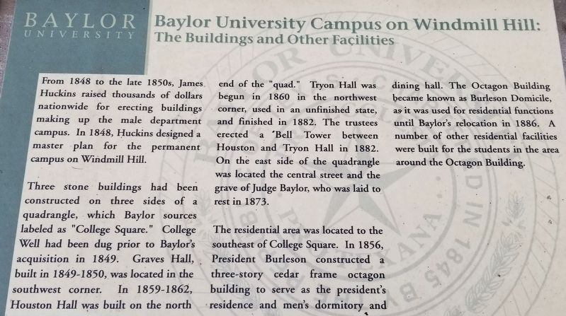 Baylor University Campus on Windmill Hill: Marker image. Click for full size.