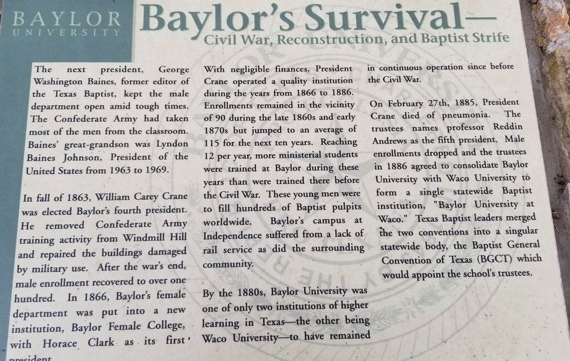 Baylor's Survival Marker image. Click for full size.