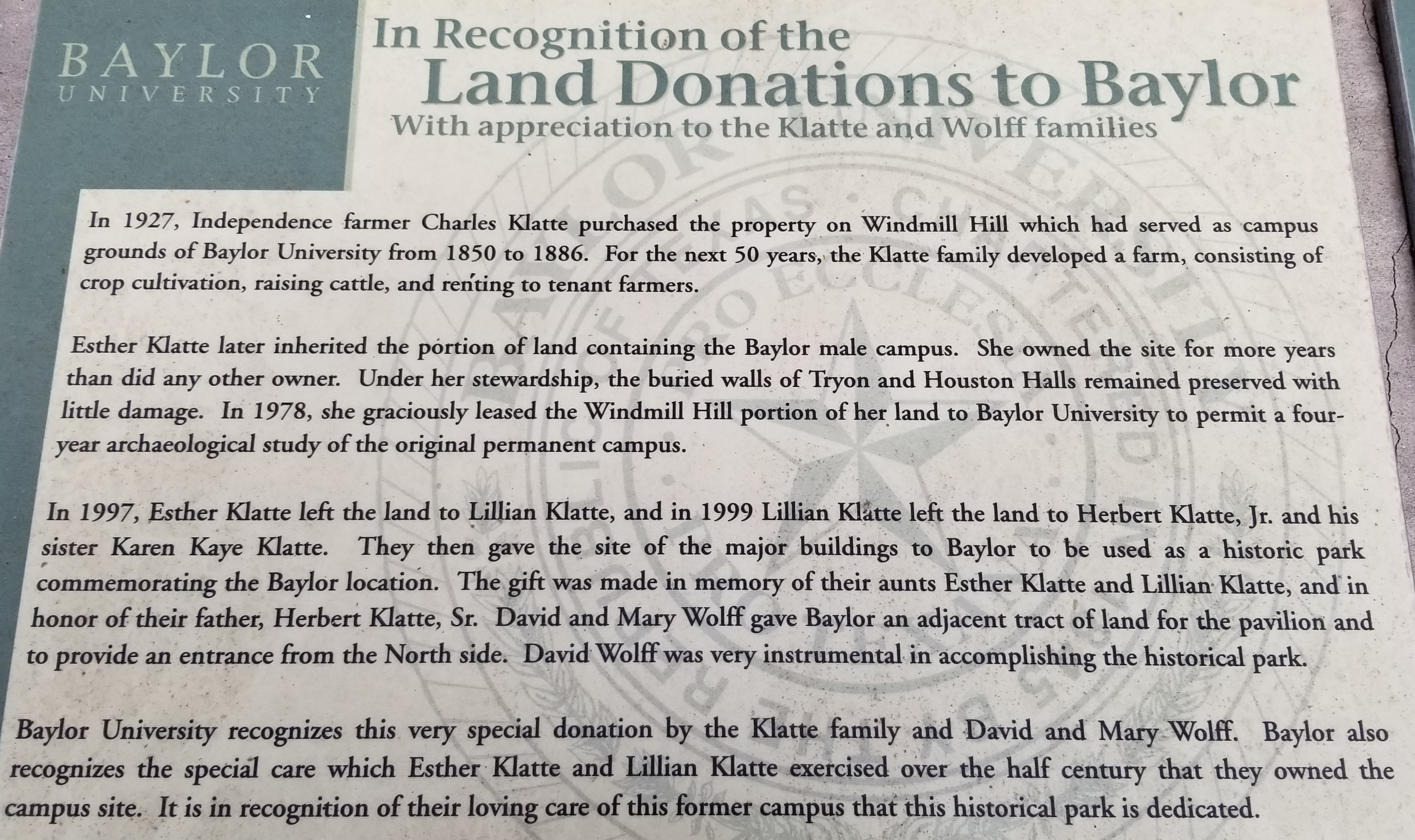 In Recognition of the Land Donations to Baylor Marker