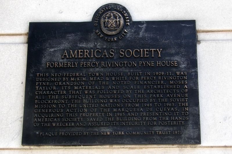 Americas Society plaque image. Click for full size.
