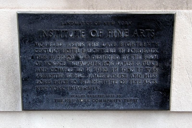 Institute of Fine Arts plaque image. Click for full size.