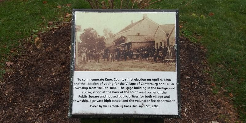 To commemorate Knox County's first election on April 4, 1808 Marker image. Click for full size.
