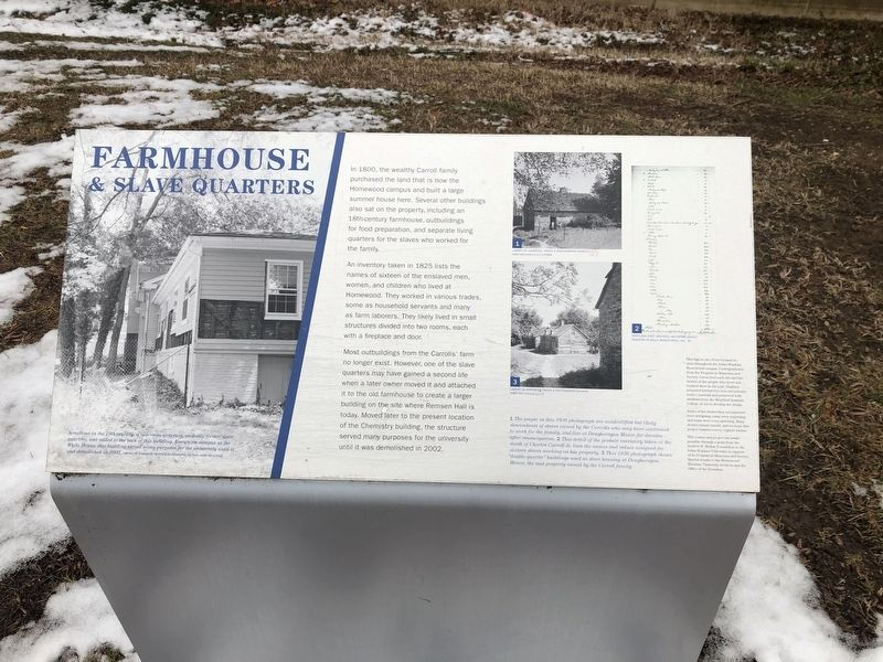 Farmhouse & Slave Quarters Marker image. Click for full size.