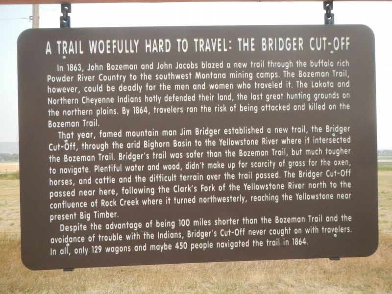 A Trail Woefully Hard to Travel: The Bridger Cut-Off Marker image. Click for full size.