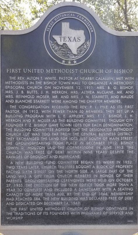 First United Methodist Church of Bishop Marker image. Click for full size.